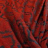 Stickerei Feel erhöhte Strukturierte Damast Muster Rot