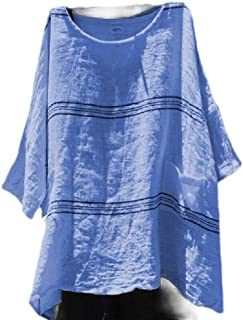 flywinner Womens Striped Short Sleeve Blouse Top Loose Fit Plus Size T-shirts