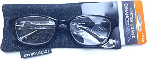 new arrival Foster Grant new arrival Women's Black Reading Glasses Rectangular lowest Enhanced Vision w/ Case +2.50 outlet sale
