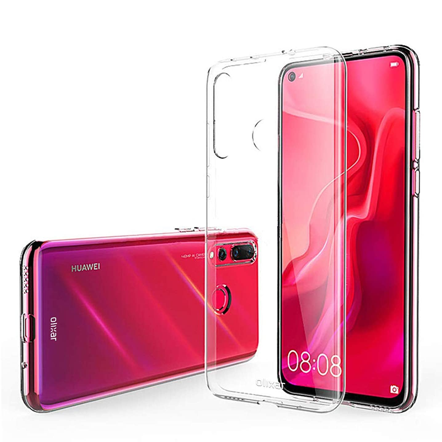Olixar Clear Case Compatible with Huawei Nova 4 - Transparent Silicone Gel Cover - Ultra Thin - 100% Crystal Clear - Slim Protection, Non Slip - Clear