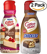 Coffee Mate Bundle - Strawberry Cheesecake Flavor Rich Cheesecake Factory at Home and Snickers Flavor - Coffee Creamer - 32 fl oz - Bundle of 2