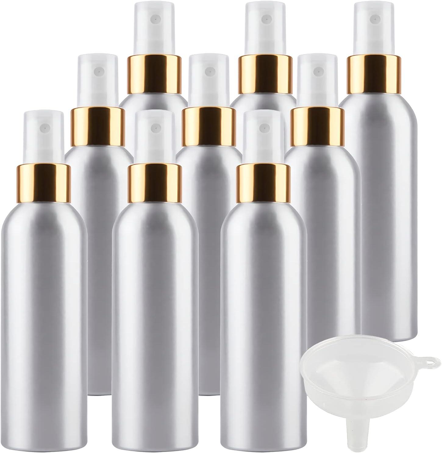 TIANZD 12 Piezas Pequeño 150 ml Botella de Spray pulverizador Botella de Aluminio Plata con Bomba en Blanco/Oro Niebla Fina Atomizador para Perfume Viaje Artículos de Agua Cosmético con Embudo
