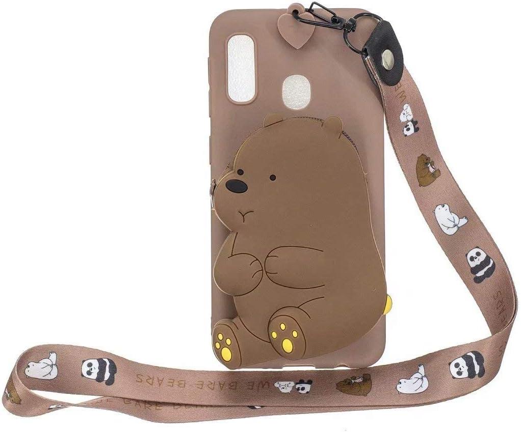 Maoerdo Galaxy A20S Case,[Send Pen] 3D Cute Animal Earphone Pocket Purse Lanyard [Drop Proof,Shock Proof] Cartoon Gel Rubber Back Cover Case for Samsung Galaxy A20S - Brown Bear