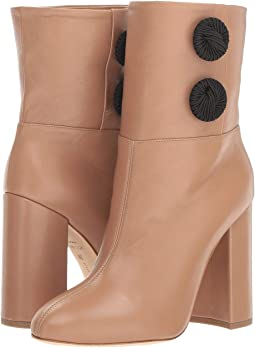 Alva Nappa Leather Almond-Toe Tube Boot w/ Embroidered Button