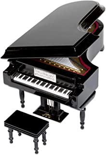 ComputerGear Classical Miniature Black Baby Grand Piano Music Box with Bench and Black Case (Für Elise)