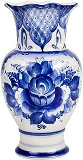 Hand-Painted Blue and White Porcelain Vase Idyll - Decorative Vase - Gzhel Wall Vase