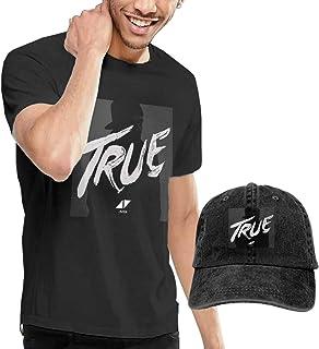 Avicii True Tシャツ メンズ 半袖 シャツ おしゃれシンプル クルーネックトップス カウボーイ帽 (2点 セット)男女兼用