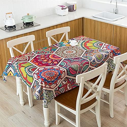 TYLC Mantel Estilo Bohemio impresión Decorativa Ropa Decorativa Impermeable Grueso Rectangular Boda Mesa de Comedor Cubierta té Mesa de Mesa (Color : 1, Size : 32x45cm Tablecloth)