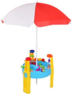 Keezi Kids Outdoor Umbrella Sand and Water Table Play Set Toys Beach Sandpit
