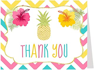 Tropical Thank You Cards, Aloha Luau Hawaii Pineapple Hawaiian Flowers Chevron Stripes Pink Turquoise Yellow Gold Mahalo BBQ Barbeque Cookout Picnic (50 Pack)