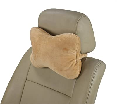 """ObboMed MN-5210 Travel Microbeads Headrest Pillow for Car, Bus, Train, Plane, or in Bed, Neck and Head Support Cushion, Velour and Microbeads, Tan, 12""""7.5""""4.5"""", 1pc"""