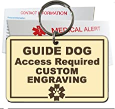 Guide Dog Identification Tag Custom Engraved Rectangle Plastic Made in USA