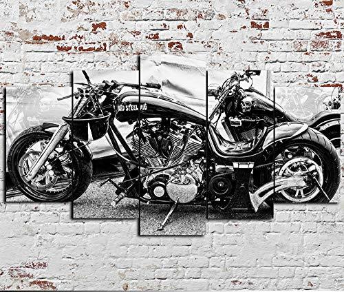 Quadro Moderno 5 Pezzi Pannelli Motore Harley Davidson Cycles Quadro su Tela 5 Canvas Quadri Moderni per Soggiorno Camera da Letto Cucina Decorazione da Parete