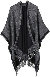NJGV Women Winter Oversized Color Block Shawl Wrap Open Front Poncho Cape Imitation cashmere square double-sided warm cloa...