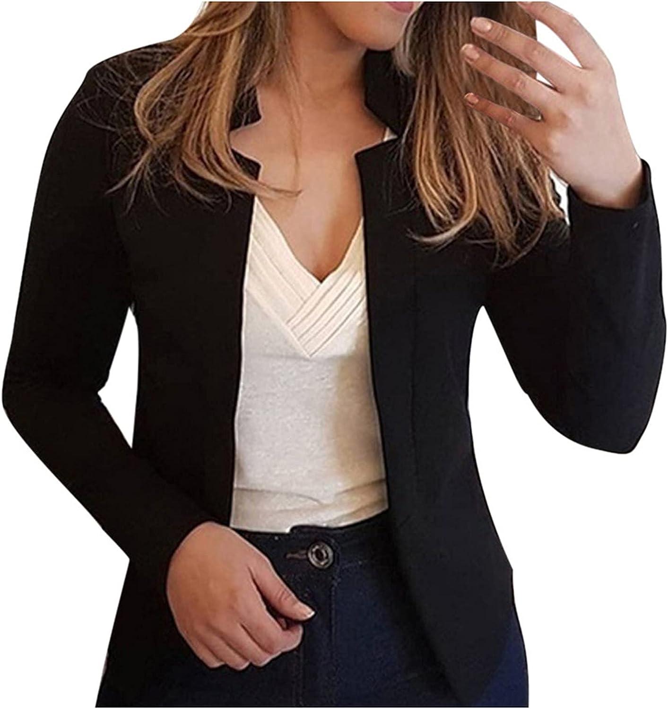 Hemlock Women No Buttons Blazers Open Front Cardigan Suit Jackets Cropped Long Sleeve Tops Overszied Outwear
