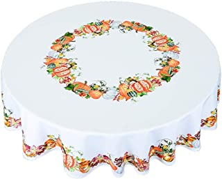 Simhomsen Thanksgiving Harvest Pumpkins Tablecloth, Autumn Or Fall Printed Fabric Table Linens (Round 54 Inch)