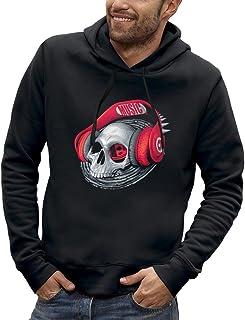 Bluza z kapturem CZASZKA SŁUCHAWKI DJ CZERWONY - PIXEL EVOLUTION - Mężczyzna