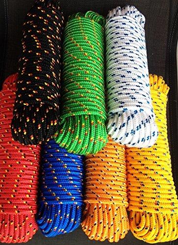 Polypropylen Seil, Polypropylenseil 4-16 mm,Bootsleine,Ankerleine,Festmacher,Allzweckseil,Bootsseil,Seil,Leine,Reepschnur,Reepseil,Schnur,Band,Tauwerk,Tau (Blau mit gelb/roter Markierung, 4 mm)