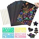 MOOKLIN ROAM Scratch Art, 59 Hojas Manualidades Rascar Paper Rainbow Mini Bloc de Notas Mágico con Lápices Plantillas Dibujos