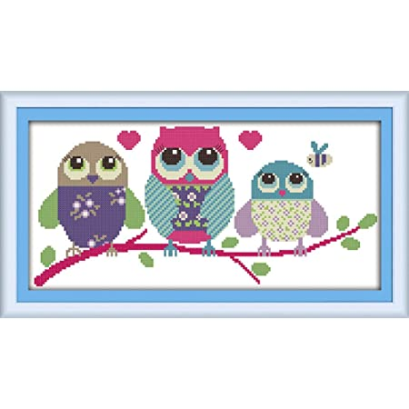 Cross Stitch Kits, Awesocrafts Cartoon Owl Animals Cute Abstract Easy Patterns Cross Stitching Embroidery Kit Supplies Christmas, Stamped or Counted (Owl, Counted)
