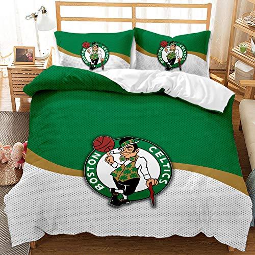 Boston Bedding Set American Basketball Club Kids Duvet Cover Set Green and White Celtics Team Logo for Adults Teens King Size 1 Duvet Cover 2 Pillowcase