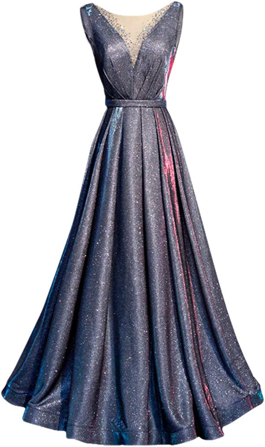 Drasawee Women's Glitter V Neck Long Evening Dress Elegant Maxi Formal Dresses