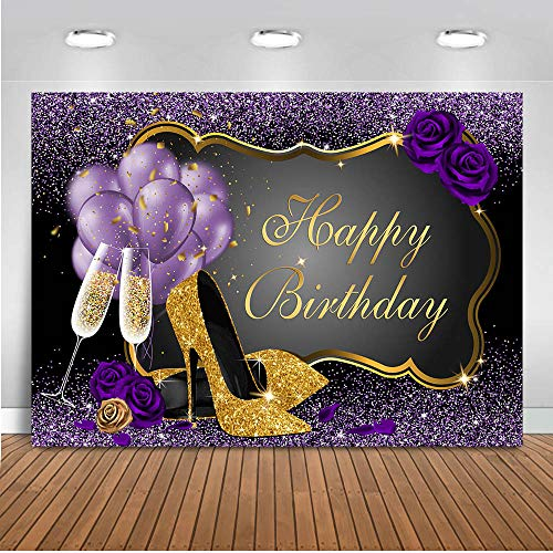 Mocsicka Glitter Purple Gold Happy Birthday Backdrop 7x5ft High Heels Champagne Balloon Women's Birthday Photography Background Sweet 16th 30th 40th 50th Bday Party Decorations Photo Backdrops