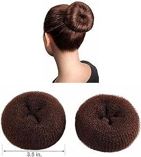 CLOTHOBEAUTY 2 pieces Large Size Hair Bun Donut Maker, Ring Style Bun, Women Chignon Hair Donut Buns Maker,Hair Doughnut Shaper Hair Bun maker (3.5 inches, Brown)
