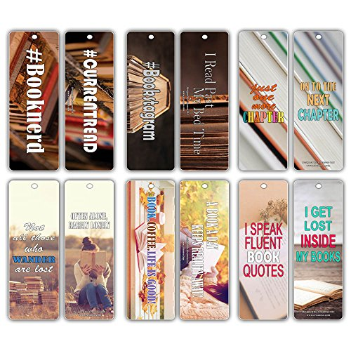 Creanoso Inspiring Sayings Reading Booknerd Bookmarks (30-Pack) – Inspirational Reading Quotes for Productive Reading Habits – Essential Bookmarker Collection Set for Men, Women, Adult, Teens