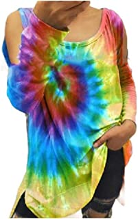 HEFASDM Womens Blouse V-Neck Tie-Dye Loose Fall Winter Print Tees Top
