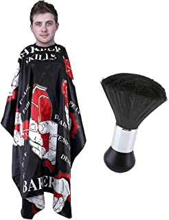 CCbeauty Barber Supplies Tool Set Salon Haircut Cloth Apron Cape Hairstylist Cleaning Chest Neck Duster Brush (Letter Hair Cape)