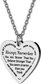 Daughter Heart Pendant Necklace You Are Braver Than You Believe Engraved Motivational Message Stainless Steel Jewelry Gifts from Mom Dad