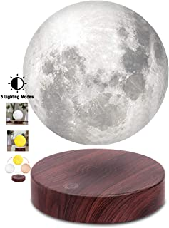 VGAzer Levitating Moon Lamp,Floating and Spinning in Air Freely with Luxury Faux Wooden Base and 3D Printing LED Moon Ligh...