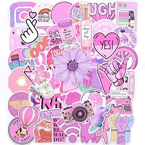 QINGMI - Pegatinas para maletas, diseño de chica y bicicleta, color rosa