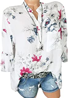 ffb7df23bfc15 Swyss Women Plus Size Fall Shirt Floral Print Collar V-Neck Chiffon Long  Sleeve Lapel