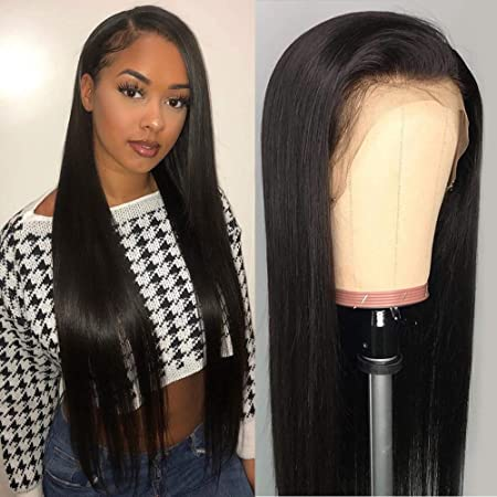 Perstar Straight Lace Front Wigs Human Hair Wigs For Women Pre Plucked Lace  : Amazon.co.uk: Beauty