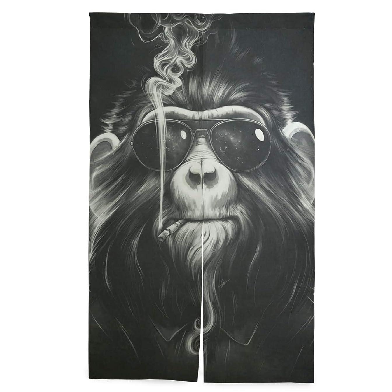 アグネスグレイ不道徳料理のれん おしゃれ ビンテージモンキーチンパンジー柄 暖簾 幅86cm×丈143cm ポリエステル 室内インテリア 突っ張り棒付き
