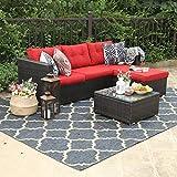 PHI VILLA Outdoor Sectional Rattan Sofa - Wicker Patio Furniture Set (Red)