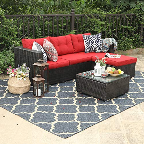 PHI VILLA Outdoor Sectional Rattan Sofa - Wicker Patio Furniture Set (Red)