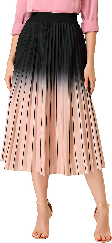Allegra K Women's Gradient Color Elastic Waist A-Line Accordion Pleated Midi Skirt
