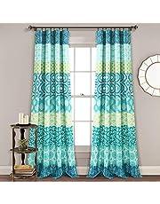 ديكور غني، ستارة نافذة مخططة بوهيمية زرقاء وخضراء بألوان جريئة تصميم لوحة، 84 بوصة × 52 بوصة
