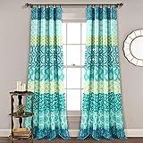 Lush Décor, Blue and Green Lush Decor Bohemian Stripe Window Curtain Colorful Bold Design Panel Pair, 84' x 52', 84' long x 52' wide
