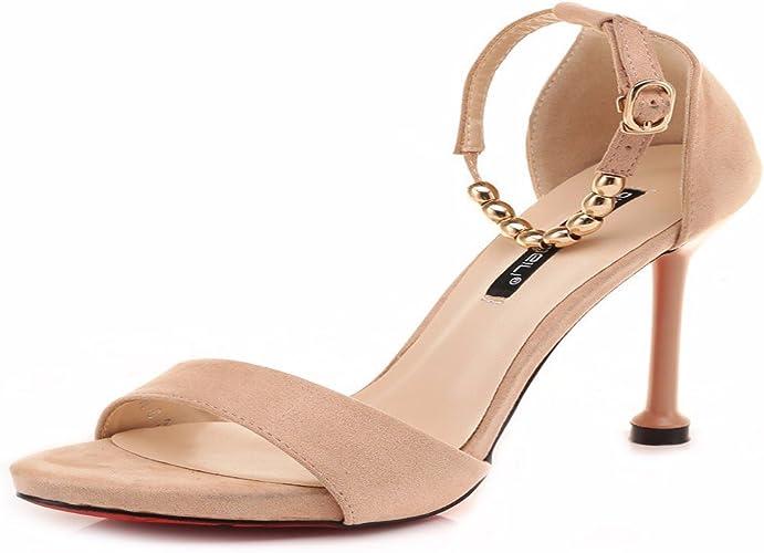 HBDLH Chaussures pour Femmes L'été DE 10 Cm De Hauts Talons Sandales Et Fines Chaussures avec Un Seul Mot.