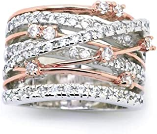 YUANYI Two Tone Intertwined Crossover Statement Ring Fashion Breadth Band Rings for Women Rose Gold Index Finger Ring US code 7 R102w