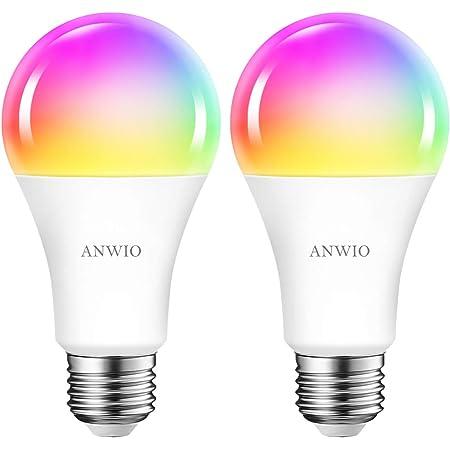 2x 12W Bombillas Inteligentes LED E27 RGB WiFi y Bluetooth, A70 Equivalente a 100W, 1521 Lúmenes, Funciona con Alexa, Google Home y Smart Life, ANWIO.