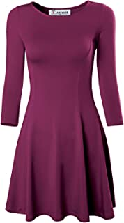 Women's Casual Slim Fit and Flare Round Neckline Dress