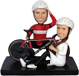 hacer un busto de fotos pareja montando bicicleta bicicleta ciclismo figuritas mini figura muñecas estatua para ciclista m...