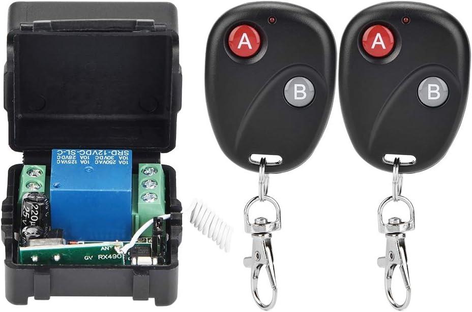 Demeras Interruptor de Control Remoto RF inalámbrico Inteligente Módulo de relé DC12V Motor RF Interruptor de Control Remoto Sistema transmisor Receptor(con 2 mandos a Distancia)