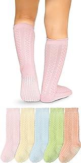 Calcetines Altos Rodilla Antideslizantes - para Bebé Niños Niñas Infantil - Algodón de Hilo Tejida