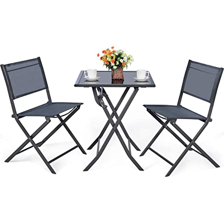 giantex 3 pcs bistro set outdoor bistro table set folding porch furniture metal patio dining table and 2 chairs 3 pieces portable patio bistro set